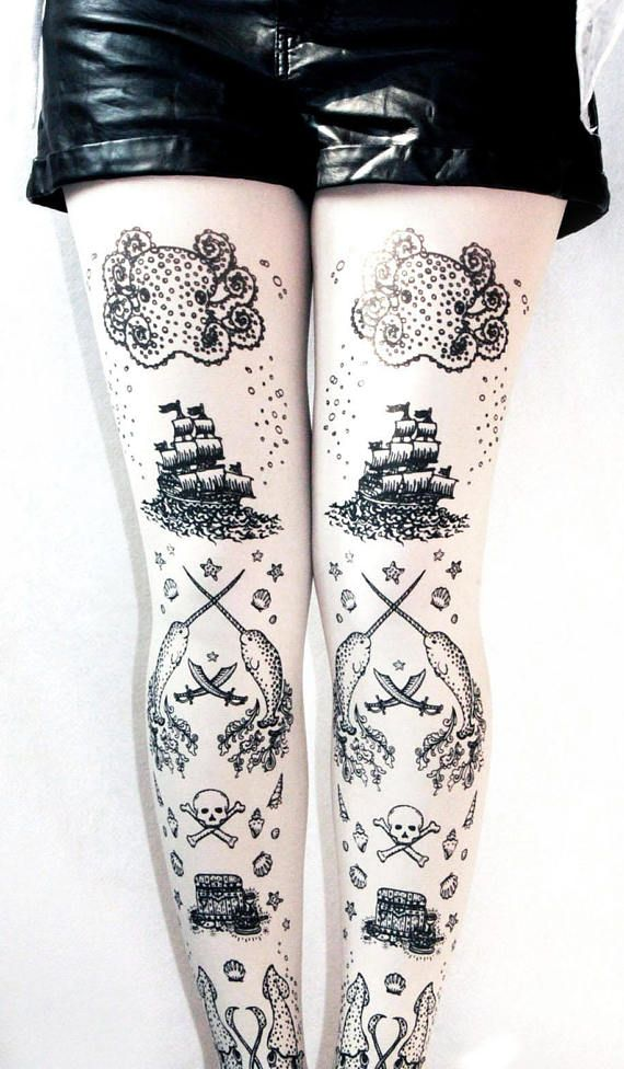 Tattoo tights! Nautical theme with narwahls, pirate ship, octopus, squid. #tattoo #tights #pirate #steampunk #unique #octopus #octopi #narwhal #giftidea #affiliate #etsy