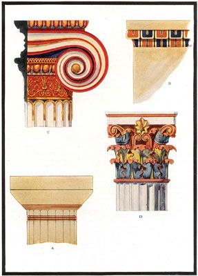 Paint on ancient Greek temples
