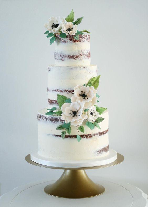 Naked three tier white wedding cake idea.