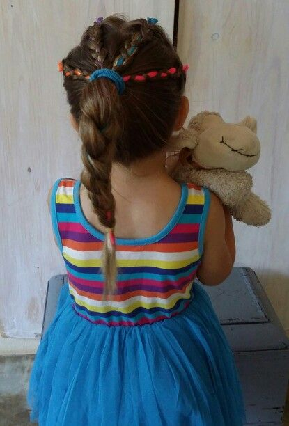 Rainbow hairstyle for the birthday girl