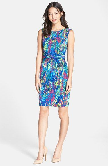 Ellen Tracy Brushstroke Print Jersey Sheath Dress - abstract floral print - summer wedding guest dress