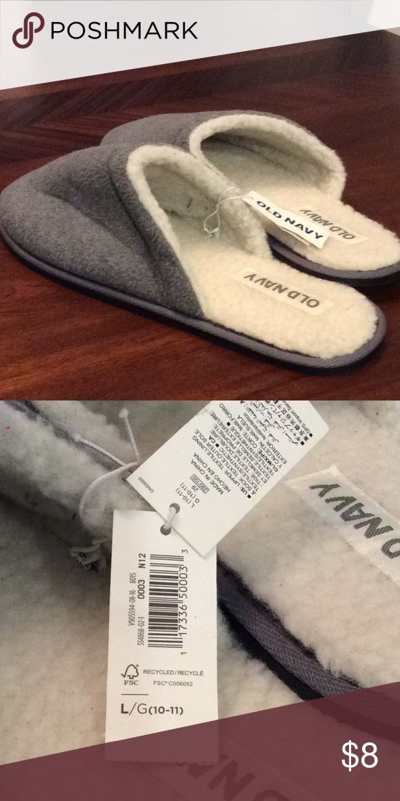 💚Old Navy Slippers 💚 NWT Men's Fleece Lined Mules Shoes