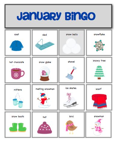 January Bingo {20 boards and 2 sets of calling cards to work on vocabulary, expressive/receptive language, problem solving skills, and social skills} by theautismhelper.com