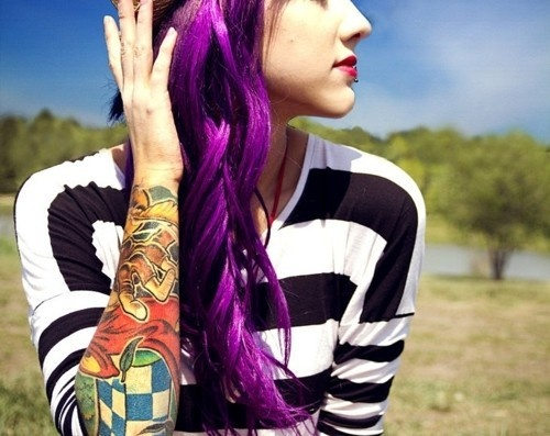 awesome hair Purple hair.: Purple Hair, Hair Colors, Hairstyles, Tattoo Sleeve, Haircolor, Beautiful, Purplehair, Hair Style, Colors Hair
