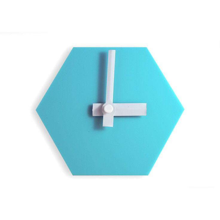 Amindy  - GEO Hexagon Desk Clock - Aqua Blue - $49 - Shop online at www.amindy.com.au