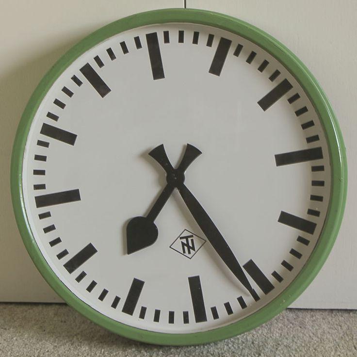 Rare antique TELENORMA (TN) german industrial clock (green)