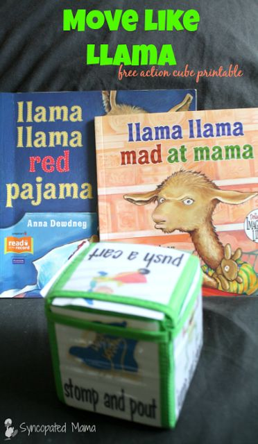 Fun action cube to go along with the Llama llama books! (Free download!)