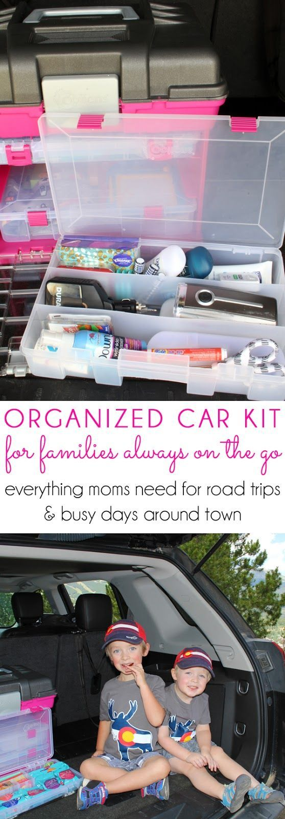An ORGANIZED CAR KIT for families always on the go. DIY car organizing tips to always be prepared with first aid, snacks, tools, hygiene, clothing care, and entertainment. The perfect car organizing hack with everything moms need for road trips and busy d