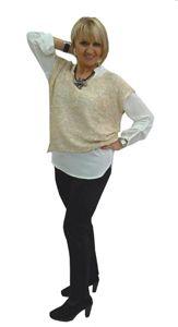 Chaleco amplio con mini lentejuelas brillantes por 21.90 € Pantalón súper cómodo de punto roma por 38.90 € Blusa básica de la firma M.R.K por 22.00€. Se fabrica en varios colores y tallas.