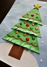 Kinder Bastelidee - Ein Papier Tannenbaum mit Fransen