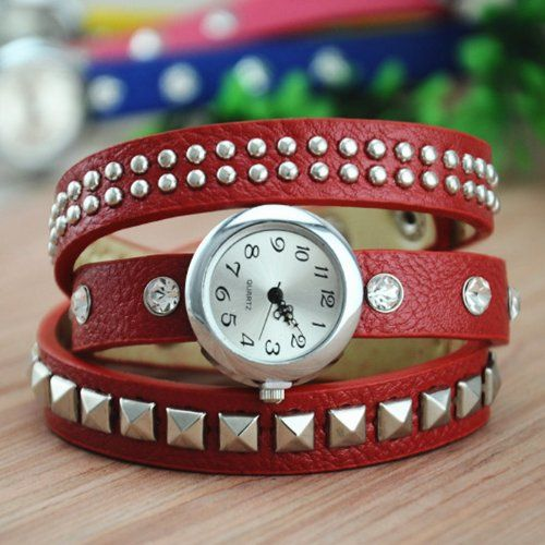 MagicPiece Handmade Vintage Style Leather Watch For Women Square and Round Rivet Thin Belt Watch in 4 Colors: Red: Watches: Amazon.com