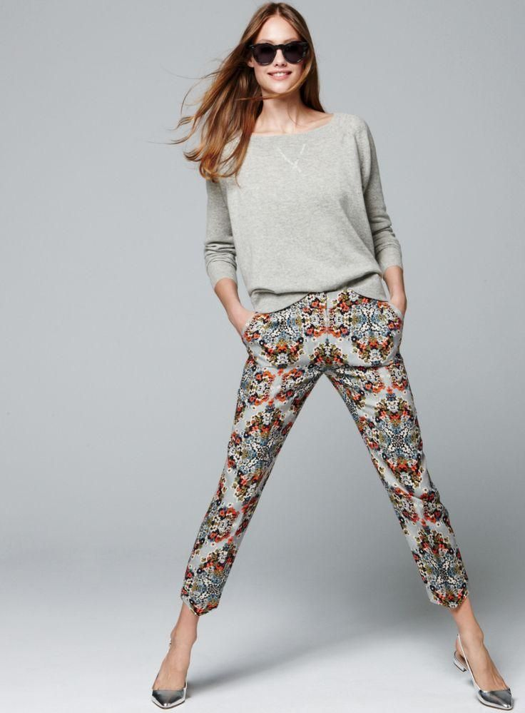 J.Crew Collection misty fog floral pants. #style #fashion #accessories