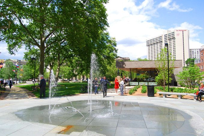 Philadelphia's newest park, Sister Cities Park on Logan Square.Shallow Water, Children Discovery, Cities Parks, Boats Ponds, Sisters Cities, Discovery Gardens, Center Cities, Logan Squares, Wind Pathways