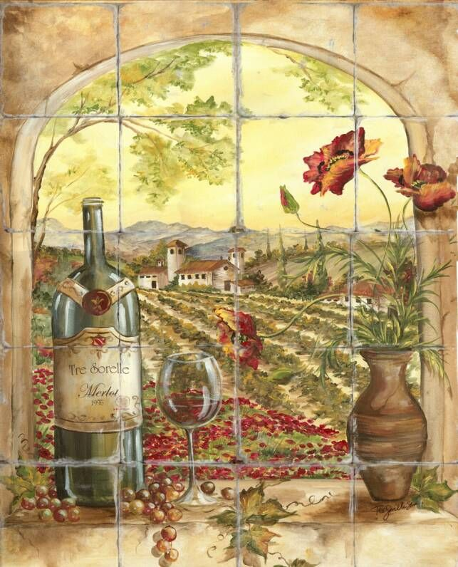 tile backsplash - poppies and wine