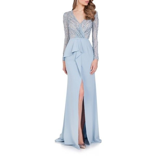 Women's Terani Couture Embellished Chiffon Gown (33,120 PHP) ❤ liked on Polyvore featuring dresses, gowns, powder blue, blue gown, embellished dress, blue sparkly dress, terani gown and blue chiffon dress