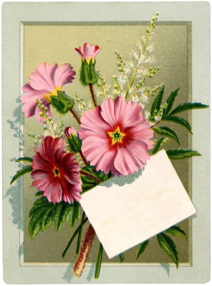 Vintage Floral Bouquet Label Card ~ The Graphics Fairy