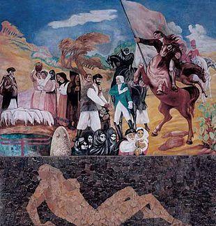 Il murale di Aligi Sassu sui moti Angioini di Thiesi