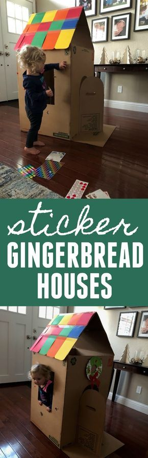 Sticker Gingerbread Houses: Christmas Cardboard Box Fun for Kids