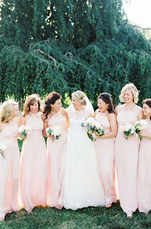 light pink halter bridesmaids