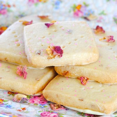 Rose Shortbread Cookies with White Chocolate