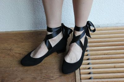 Bought ballet flats (with slightly higher heel) with satin ribbons sewed onto them.