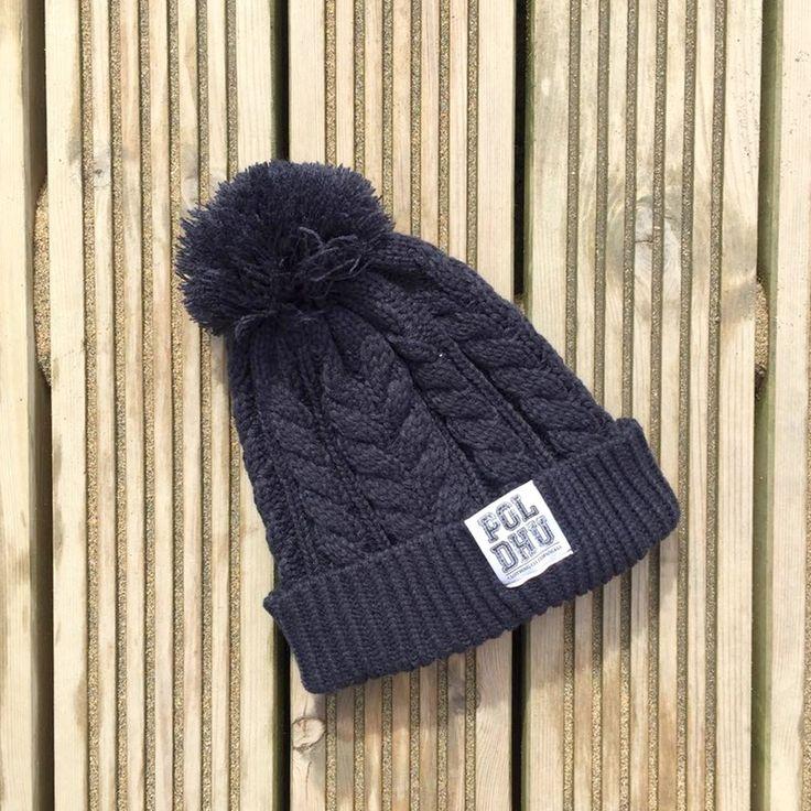 POLDHU Cable Knit Bobble - Navy - Poldhu Clothing Co - South Cornwall