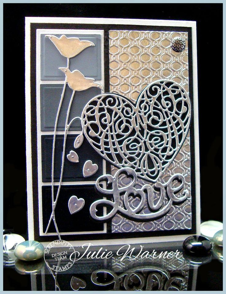 Serendipity Stamps Challenge Blog - card made using Serendipity Stamps Heart scroll, Heart Outline and Love dies.