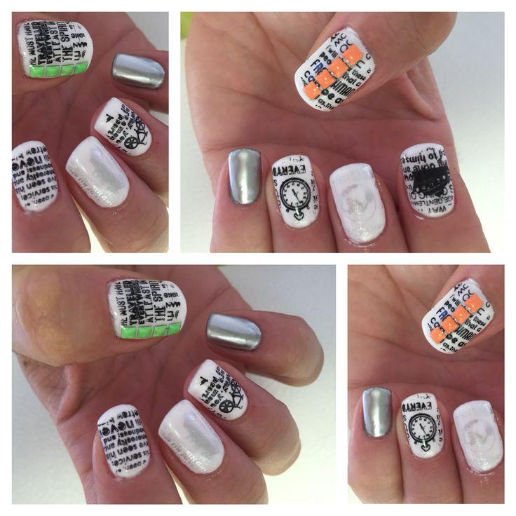 Modellage/weißes farbgel/white shellac/stamping/Black/schwarz/Silber/Silver/Chrom polish/Chrom Nagellack/Nieten/Neon/