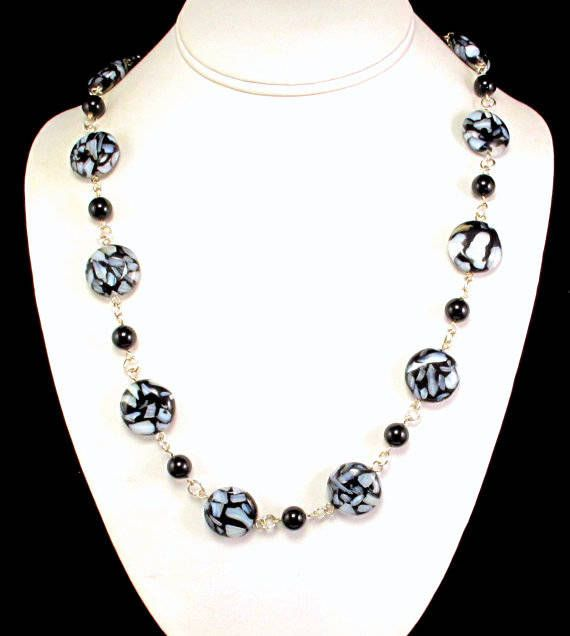 CLEARANCE Necklace Black and White Women's Necklace