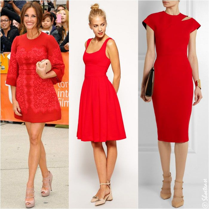 What Color Shoes to Wear with Red Dress - nude