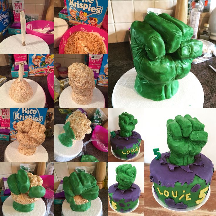 If you have a go, let me know  Hulk fist tutorial  Rice crispy treat and candy melt modelling chocolate. Tips; 1. Use a dowel or wire to support rice crispies & cover it in a bit of marshmallow to help the crispy treats hold firm.  2. Make crispy treats using just marshmallows and rice crispies (no butter).  3. Make modelling chocolate using 1 bag green candy melts & glucose (4:1 ratio) and add small amount of fondant to help make it easier to use.  tappie_bakes (Instagram)