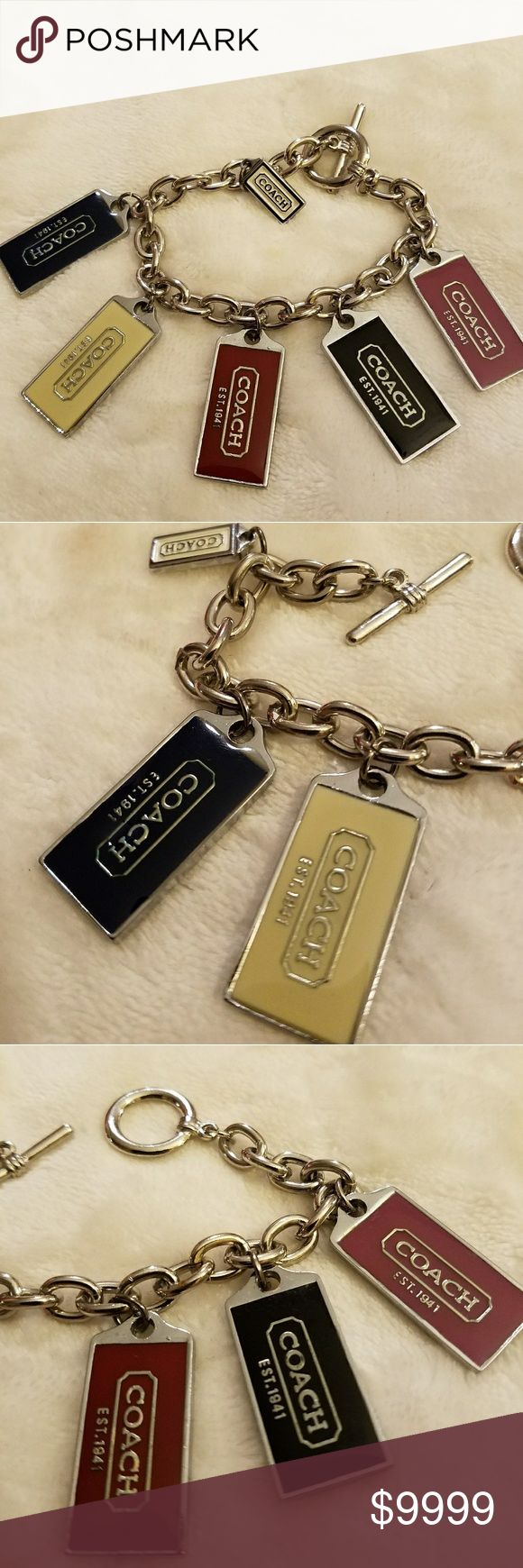 Coach🎉Charm🎉Bracelet Coach  🎉Charm🎉Bracelet 🥈Silvertone links bracelet, silvertone metal Coach luggage tags in shades of 💛Light Yellow, 🖤Black, ❤Deep Red, 💔Dark Pink, and 💙Dark Navy Blue. Coach stamped on each back. 🖤RARE🖤 find with 🚫NO tarnish. 👉EUC👈. Coach Jewelry Bracelets