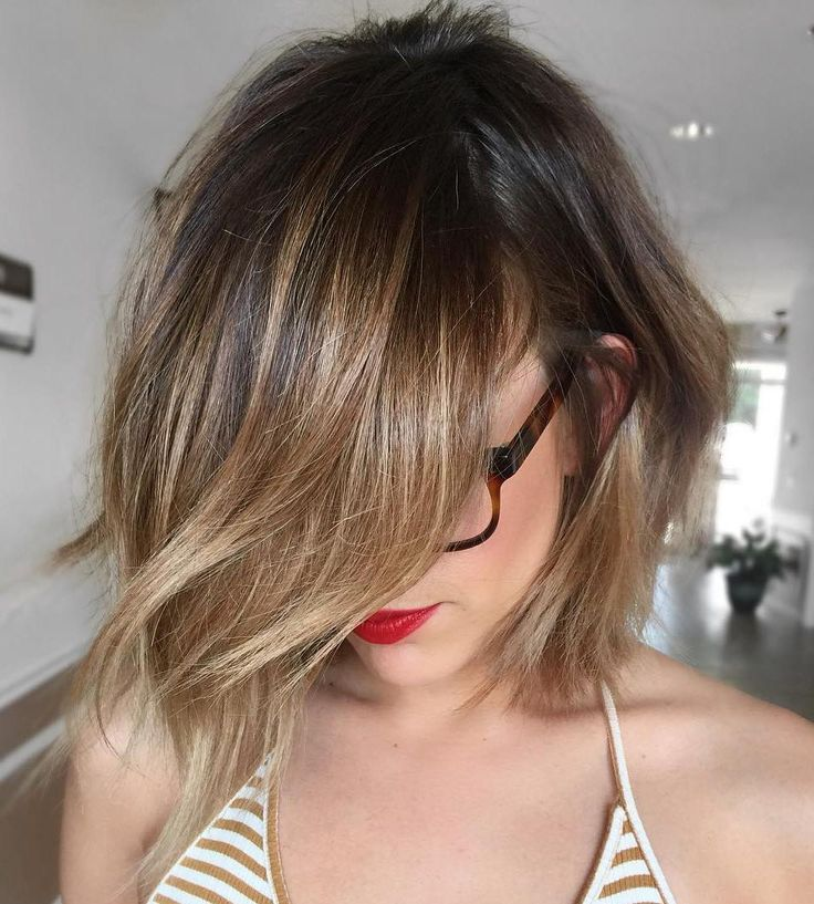 Tousled+Light+Brown+Balayage+Bob