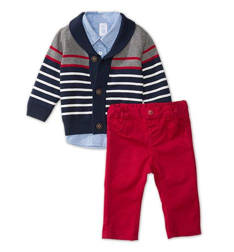 Frontimage view 3-teiliges Baby-Outfit in blau / grau