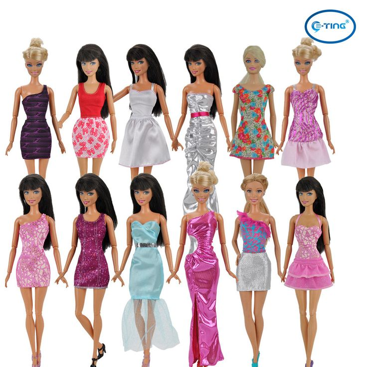 E-TING 5pcs Fashion Mini Dress For Barbie Doll Handmade Short Party Dress Clothes