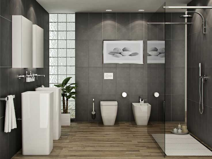 25 STYLISH MODERN BATHROOM DESIGNS Natural wood flooring