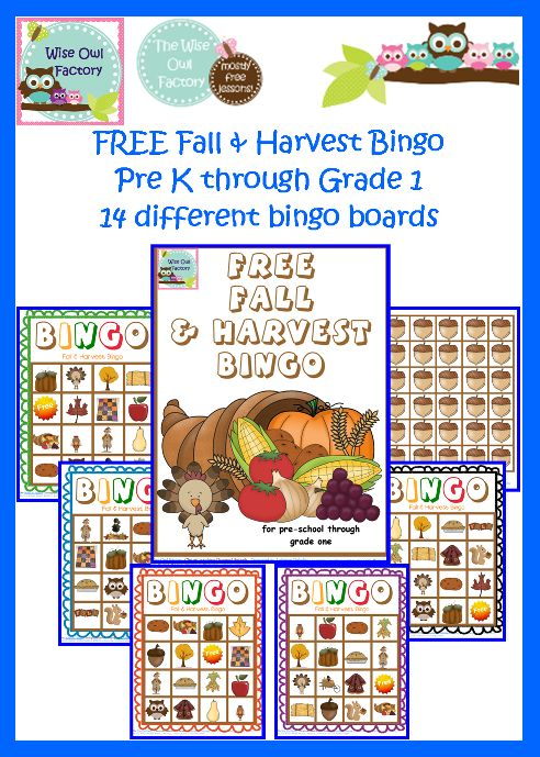 Blog post at BookaDay : Free Fall and Harvest Bingo Printable Free printable: Fall and Harvest Bingo game with fourteen different game boards, draw cards, and aco[..]