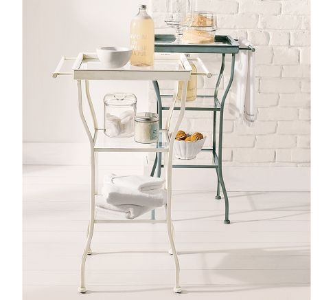 :)Bathroom Tables, Side Tables, Guest Bathroom, Breakfast Nooks, Painting Metals, Contemporary Side, Metals Accent, Accent Tables, Pottery Barns