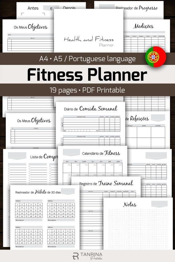 Calendario Fitness 2019.Portuguese Printable Fitness Planner Measurement And Weight