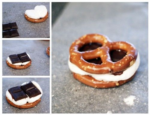 pretzel smores - my chocolate girl is having a hissy fit!  verdict: easy peasy and yummy