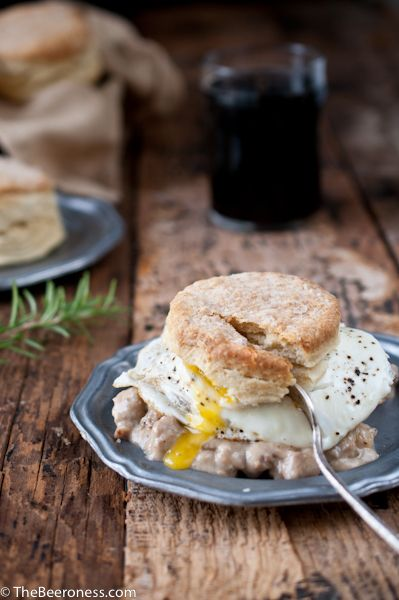 Rosemary Beer Biscuits with Stout Sausage Gravy