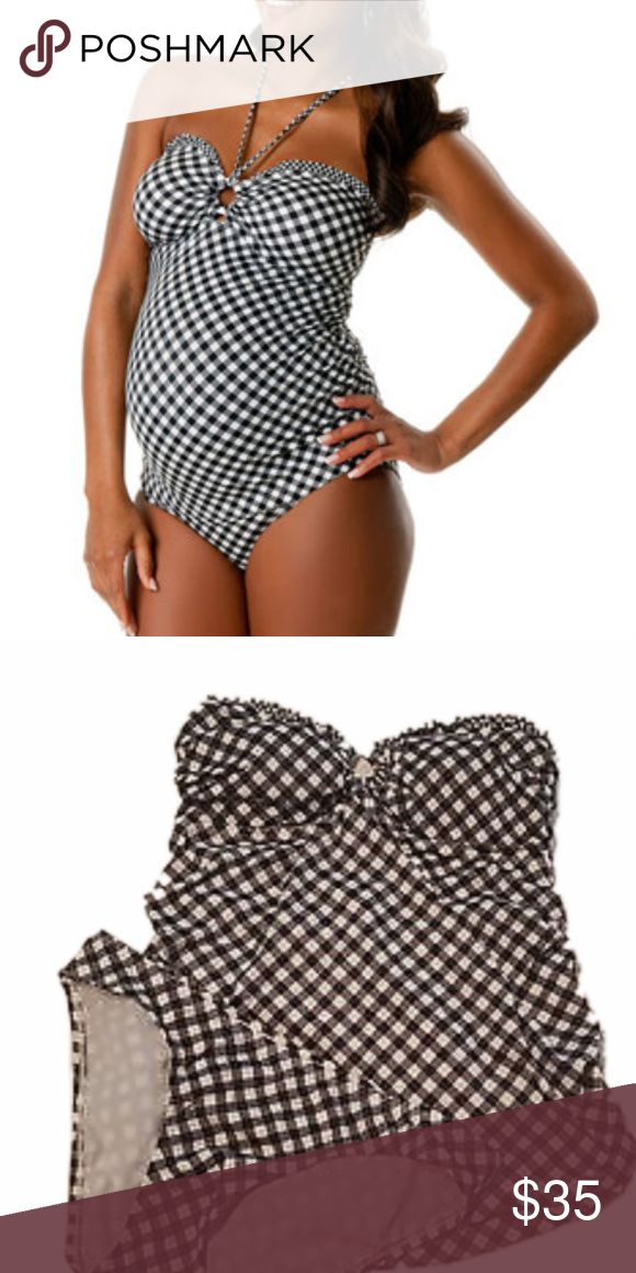 Black and white tankini swimsuit Adorable black and white piece.  Great condition.. Motherhood Maternity Swim