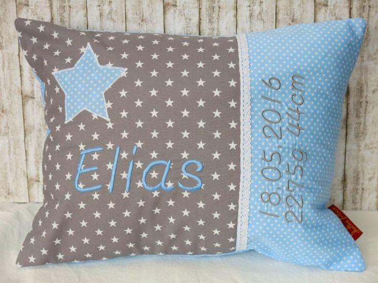 """Namenskissen - Namenskissen """"Kleiner Stern"""" hellblau inkl.1.Name - ein Designerstück von Julies-Place bei DaWanda"""