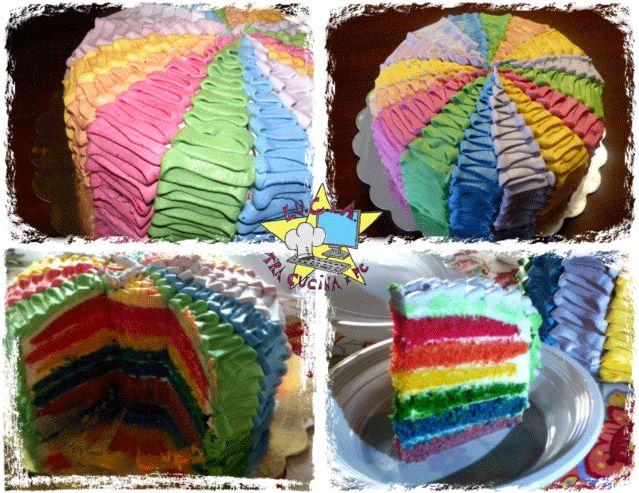 Torta Rainbow - Arcobaleno _ metodo Ruffle cake