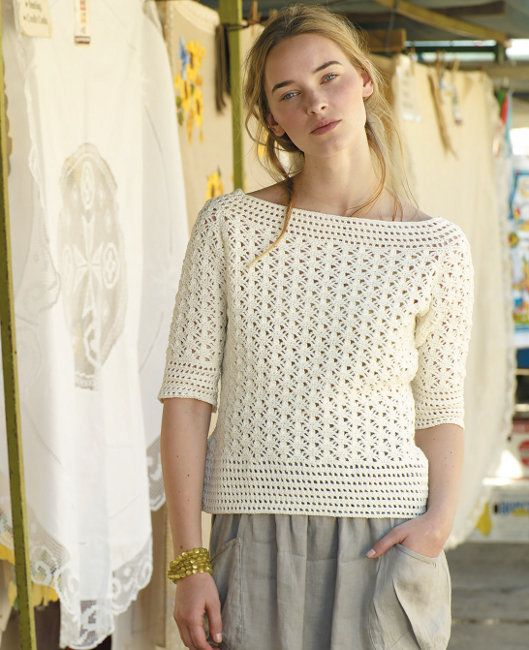 Free crochet pattern - Menorca by Marie Wallin in Rowan Siena 4 Ply: http://www.mcadirect.com/shop/rowan-siena-ply-100-cotton-p-2563.html ☆•★Teresa Restegui http://www.pinterest.com/teretegui/★•☆