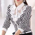 2016 new Long-sleeved camisa Magro Camisa Trecho Rendas Tarja Camisas Formais Blusa Profissional Mulheres Fall Primavera Verão WSH008