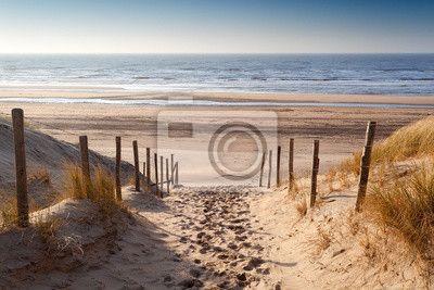 Plaża nad Morzem Północnym na tle zachodu słońca - Fototapety Plaża i Ocean…