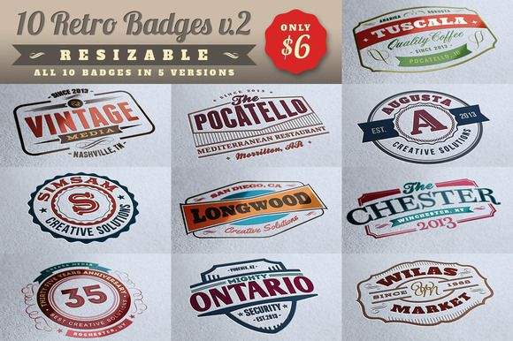 Check out 10 Retro Signs or Badges v.2 + Bonus by Cruzine on Creative Market