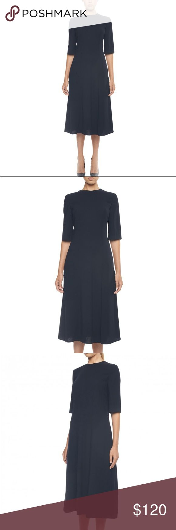 Black Woolen Day Dress Spot on for day-to-night appeal, from work to your favorite restaurant, this woolen day dress from THEO is a versatile staple for your Autumn/Winter wardrobe. Featuring cropped sleeves and falling just below the knee, the conservative cut works in your favor for cross-functional styling. 95% WOOL 5% ELASTANE BLUE, BLACK THEO Dresses Midi