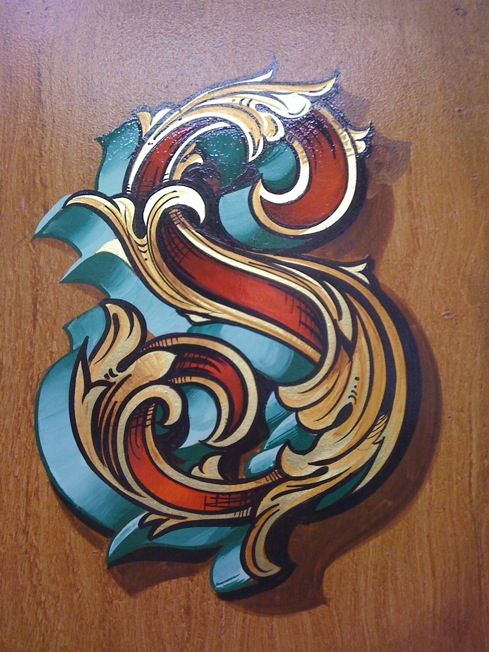 Fancy letter S in Gold leaf and painted decoration - Osborne Signs, UK
